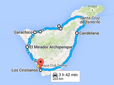 Mapa de tours en Tenerife