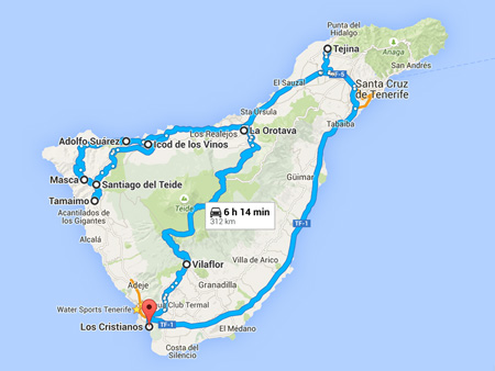 Coach tours Teide Masca map
